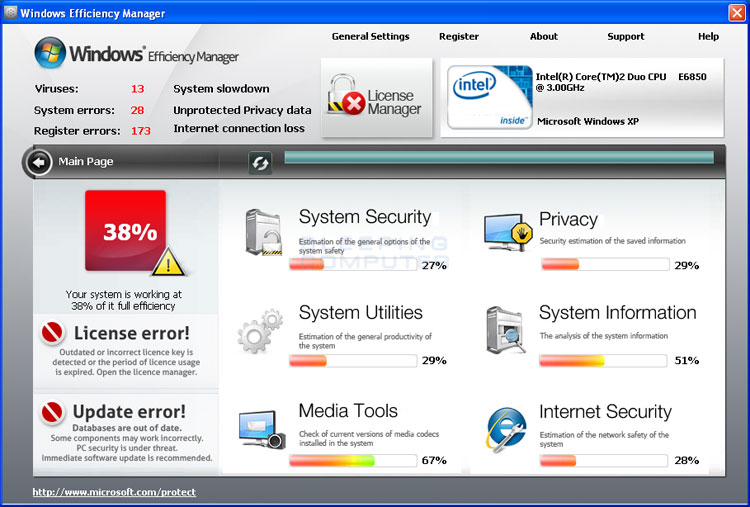 Windows Efficiency Manager Screen shot
