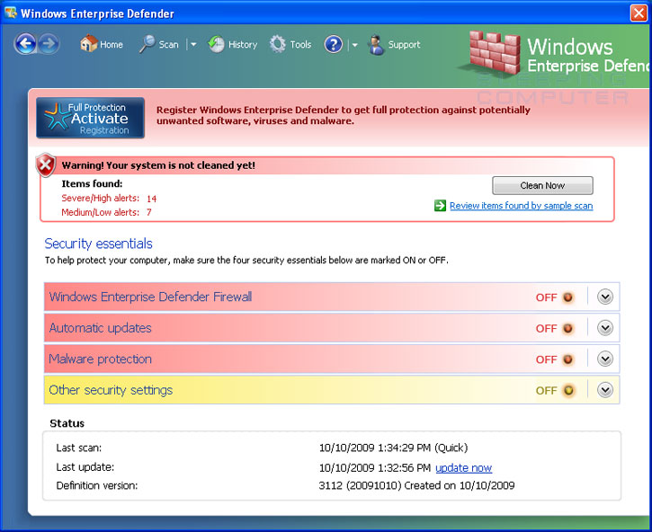Windows Enterprise Defender screen shot