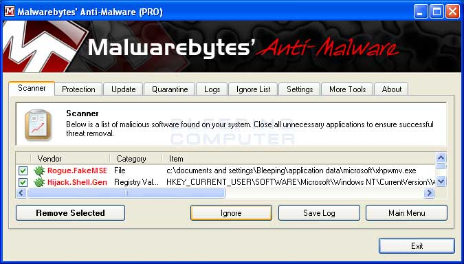 Remove Selected button to remove all the listed malware. MBAM will
