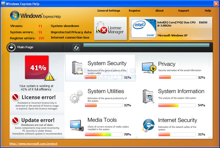 Windows Express Help Screen shot