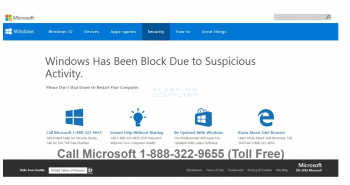 Windows has been block due to suspicious activity Scam Screenshot