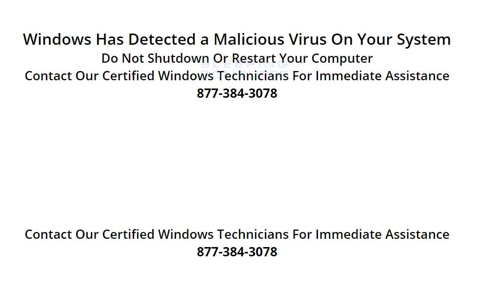 Windows Has Detected a Malicious Virus On Your System Alert
