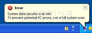 Fake error alert