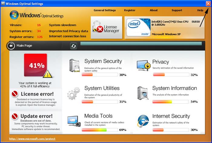 <strong>Windows Optimal Settings</strong> start screen