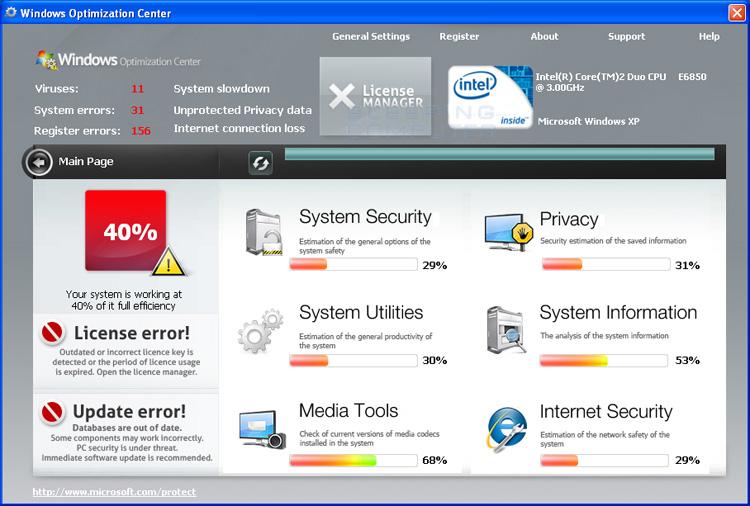 Windows Optimization Center screen shot