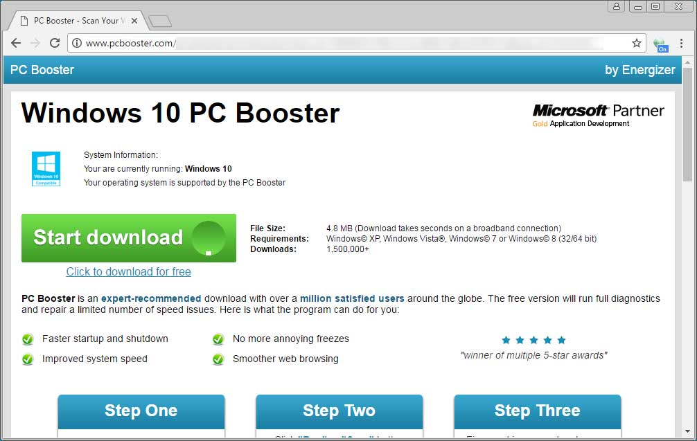 Windows 10 PC Booster Ad