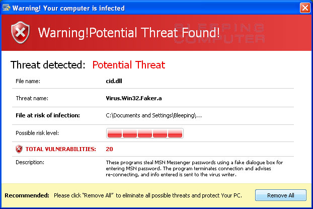 Warning of a threat detected