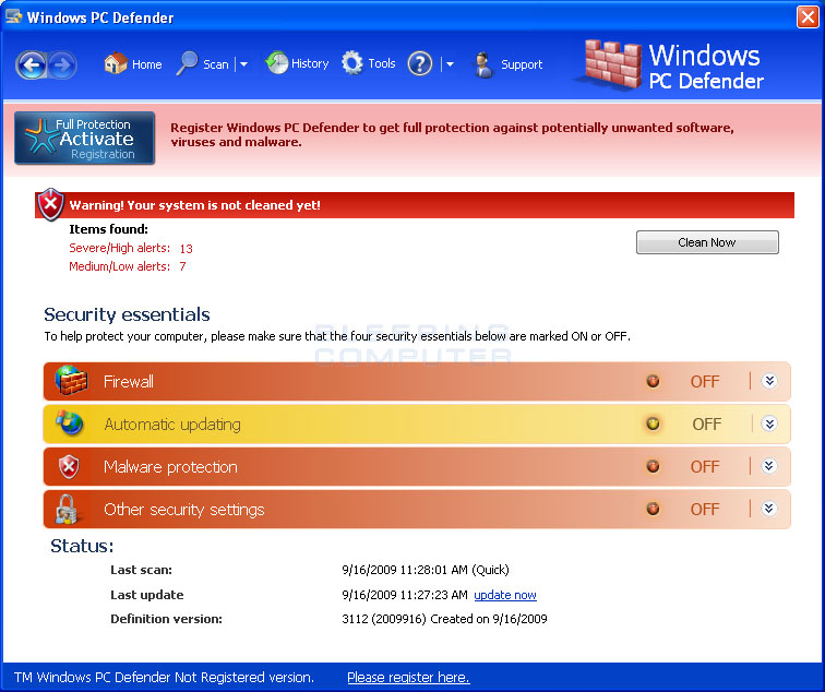 Windows PC Defender screen shot