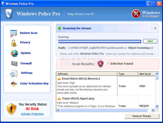 Windows Police Pro screen shot