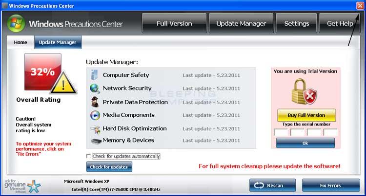 <strong>Windows Precautions Center</strong> start screen