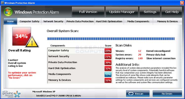 Windows Protection Alarm screen shot