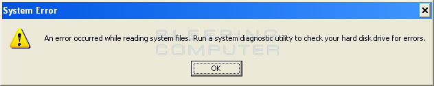 System Error alert