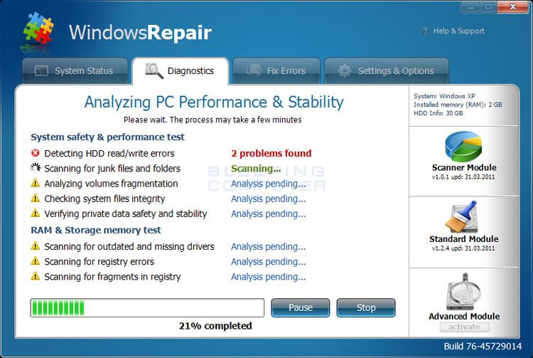 System Repair Pending Vista