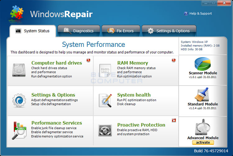 Windows Repair screen shot