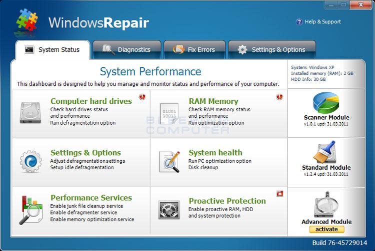 windows repair screen shot