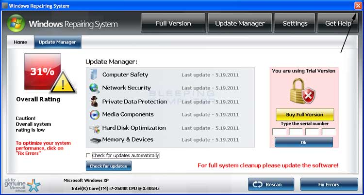 <strong>Windows Repairing System</strong> start screen