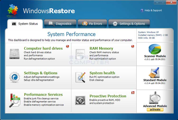 Windows Restore screen shot
