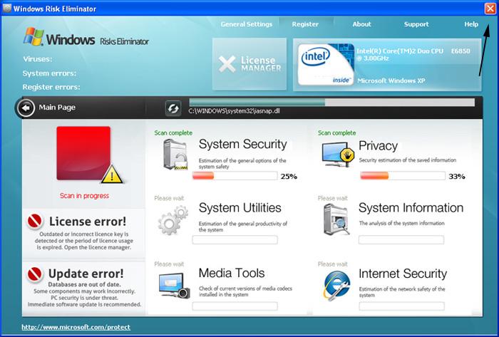 <strong>Windows Risk Eliminator</strong> start screen