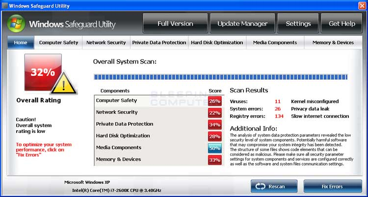 Windows Safeguard Utility screen shot