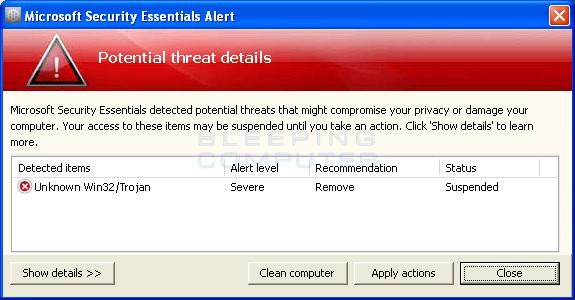 Fake Microsoft Security Essentials Alert