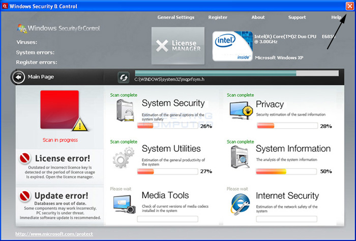 <strong>Windows Security & Control</strong> start screen