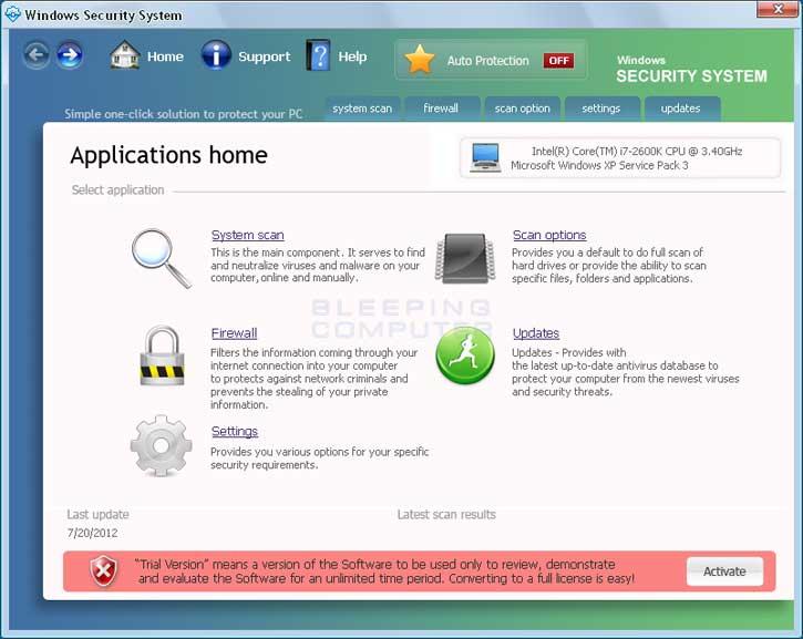 Windows Security System screen shot