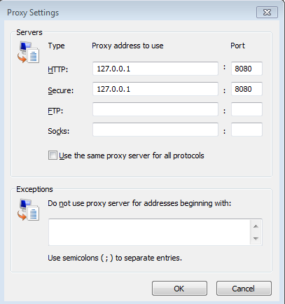 Hijacked Proxy Settings