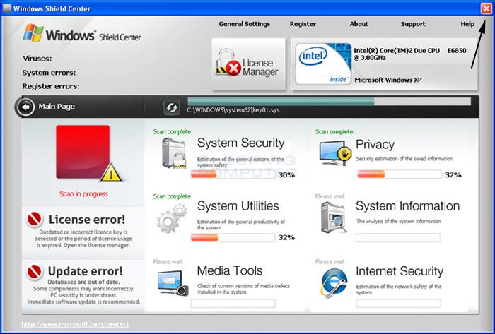 <strong>Windows Shield Center</strong> start screen