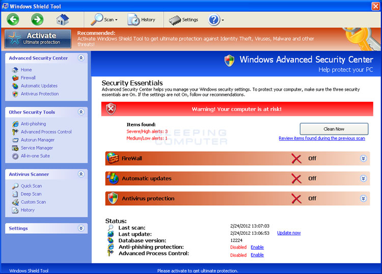 Windows Shield Tool screenshot