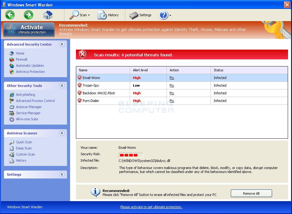 Windows Smart Warden scan results