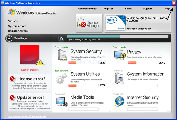 <strong>Windows Software Protection</strong> start screen