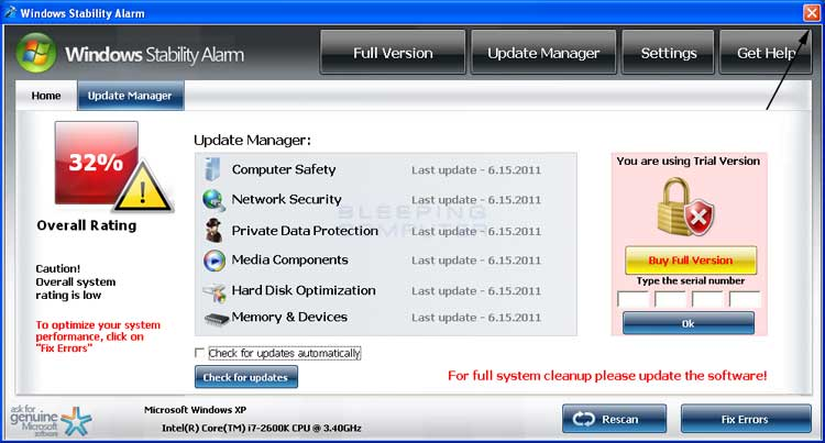 <strong>Windows Stability Alarm</strong> start screen