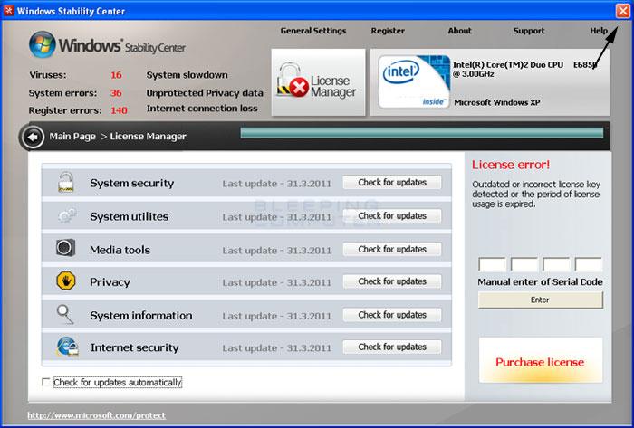 <strong>Windows Stability Center</strong> start screen