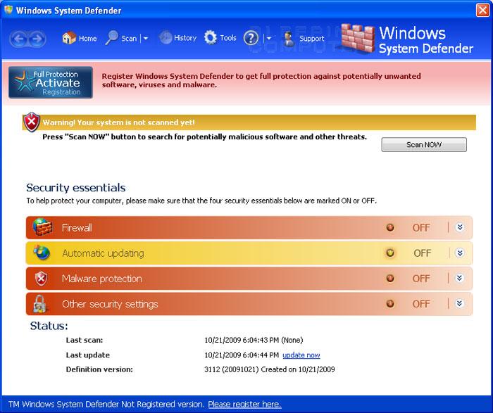Windows System Defender screen shot