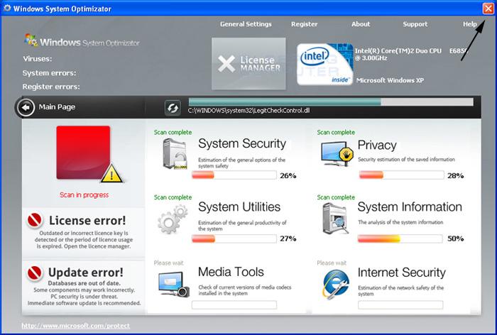 <strong>Windows System Optimizator</strong> start screen