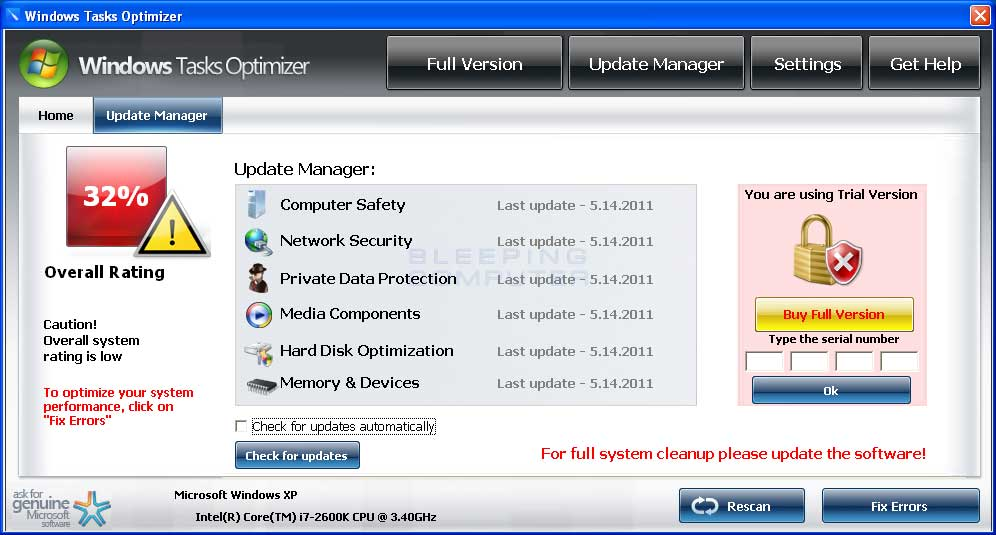 Update Manager screen