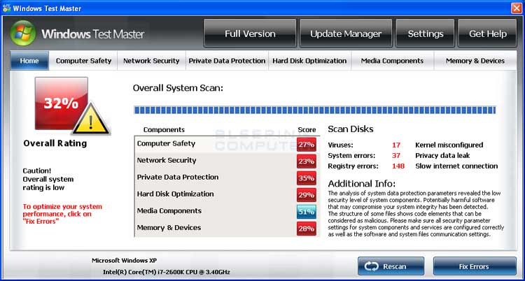 Windows Test Master screen shot