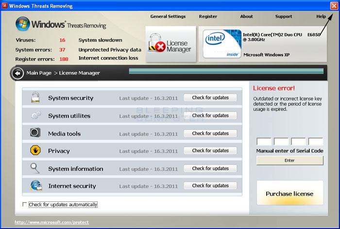 Windows Threats Removing start screen