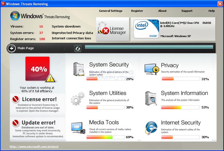 Windows Threats Removing screen shot