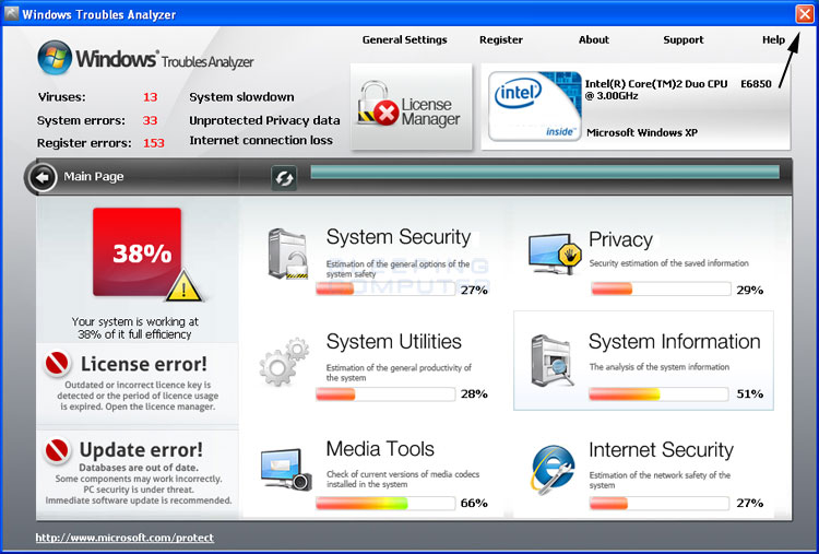 <strong>Windows Troubles Analyzer</strong> start screen