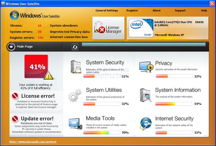 Windows User Satellite screen shot
