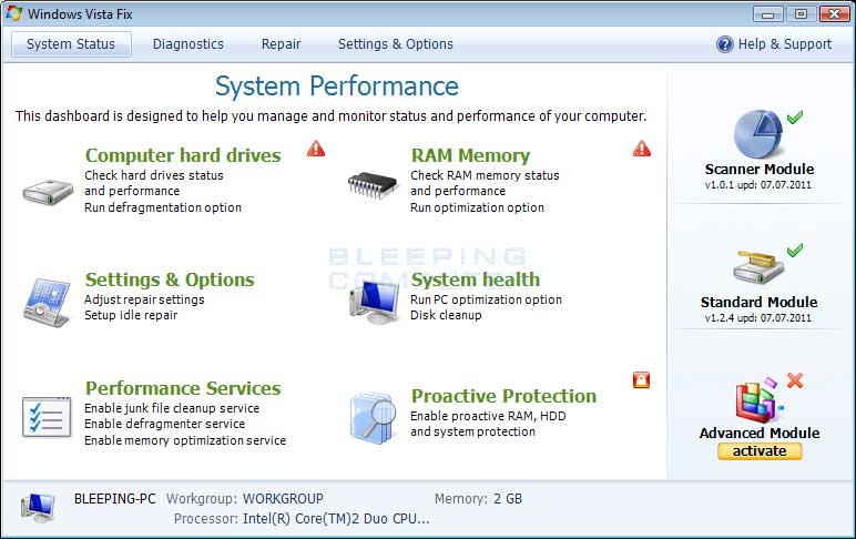 Windows Vista Fix screen shot