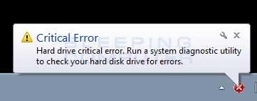 Critical Error alert
