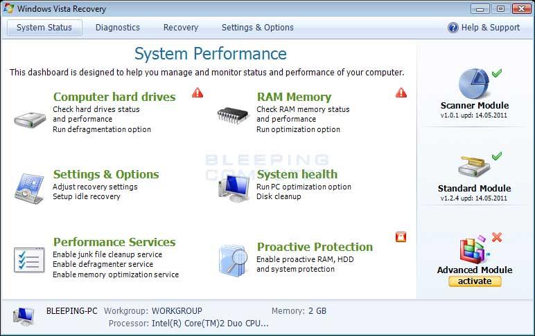 Windows Vista Recovery screen shot