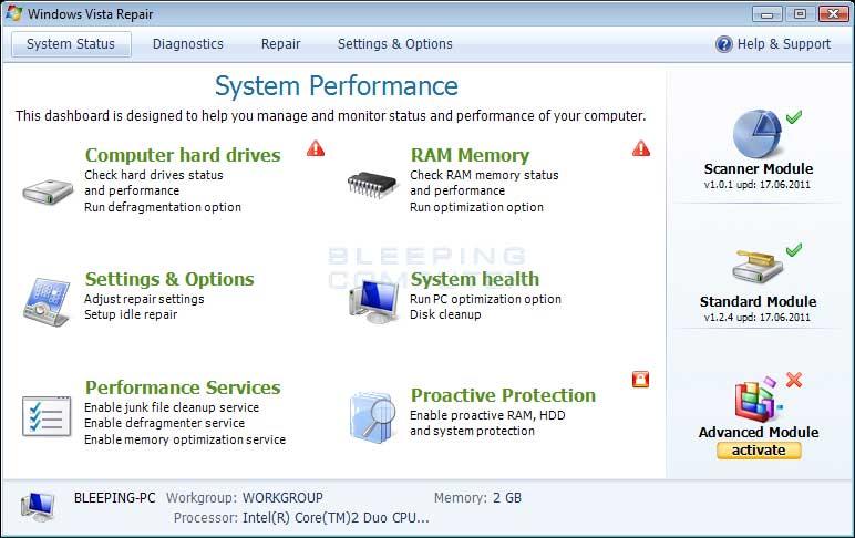 Windows Vista Repair screen shot