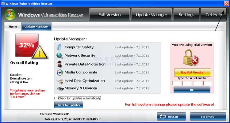 <strong>Windows Vulnerabilities Rescuer</strong> start screen