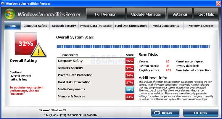 Windows Vulnerabilities Rescuer screen shot