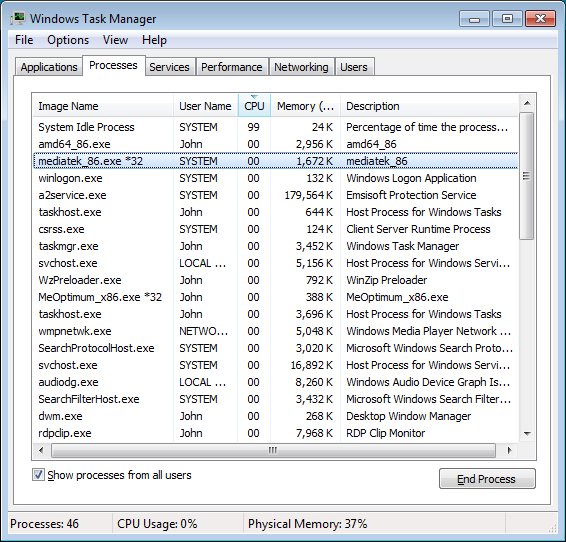 Task Manager Showing Executables