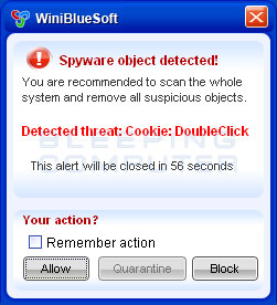 Fake alert stating a Spyware Object was detected