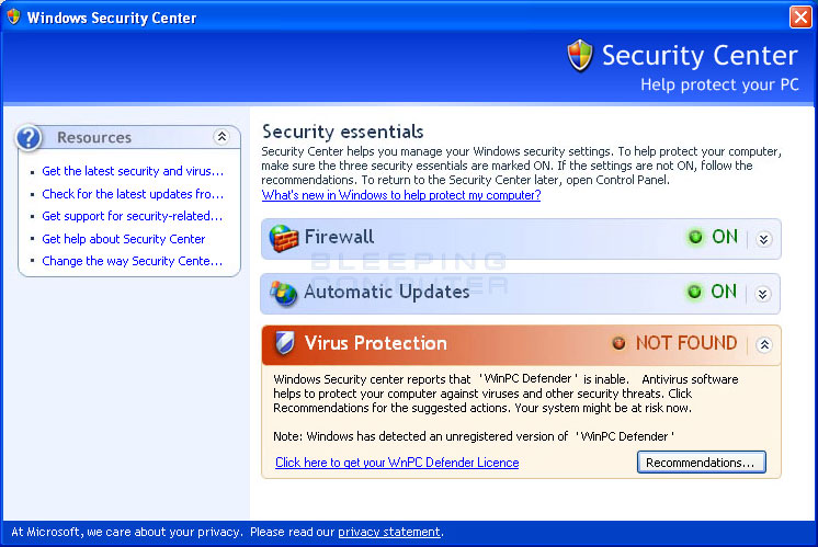 Fake Windows Security Center promoting WinPC Antivirus
